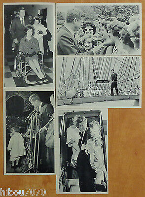 """John F. Kennedy, lot (5) Photo Cards 3 1/2"""" x 5 3/4"""" with description on back#01"""