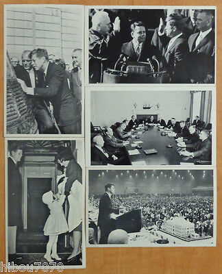 """John F. Kennedy, lot (5) Photo Cards 3 1/2"""" x 5 3/4"""" with description on back#02"""
