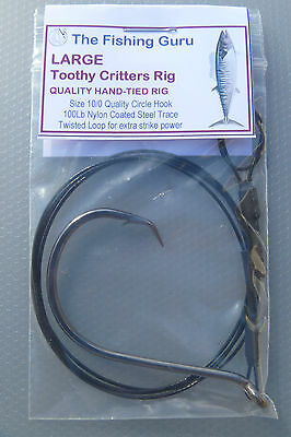 LARGE Toothy Critters (and SHARK) Rig - 10/0 CIRCLE Hook 100Lb - MADE in SA