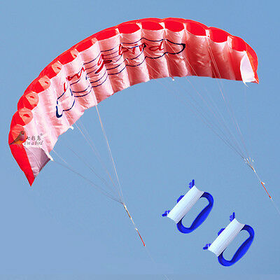 NEW 1.4m Power Kite outdoor FUN Toys Parafoil Parachute DUAL LINE surfing RED