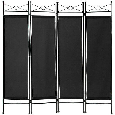 4-panel room divider separator panel wall movable partition folding screen black
