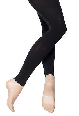 Girls Ladies Black Footless Ankle Standard 60 Denier Ballet Dance Tights By Katz
