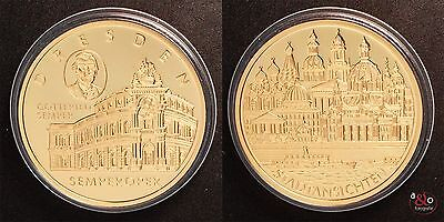 Semperoper Dresden Medaille - PP - vergoldet ca.28g 40mm