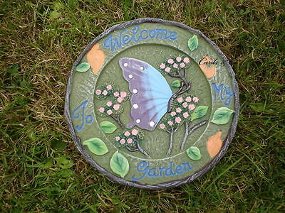 Butterfly Stepping Stone Welcome To My Garden Terracotta Lawn Ornament - 20cm