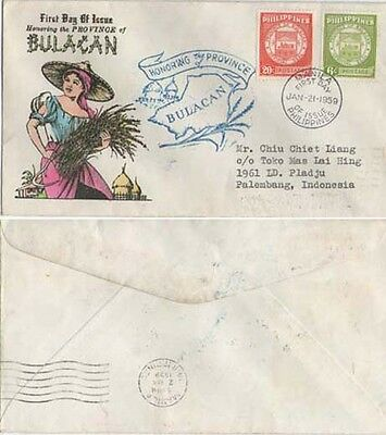 Philliipine Islands FDC Bulacan. Map cachet. Sent to Indonesian