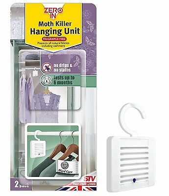 1 x 2 Pack ZERO IN Moth Killer Hanging Unit  Protects all Fabrics Lasts 6 Months
