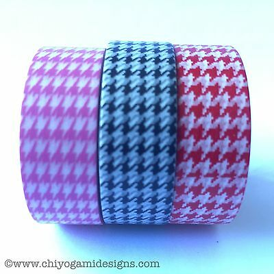 Washi Tape Houndstooth Pink Black Red 15Mm X 10Mtr Roll Scrap Craft Plan Wrap