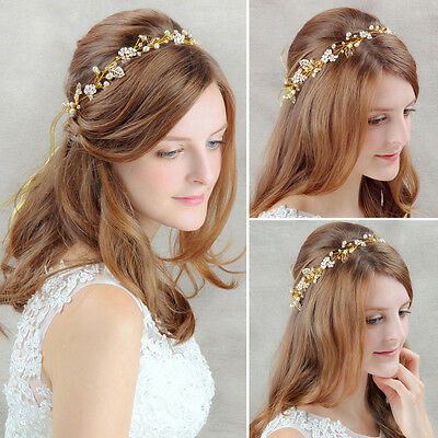 Vintage Wedding Bridal Crystal Pearl Hair Accessories Headband Band Tiara Crown