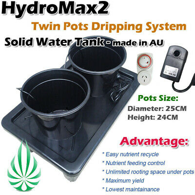 Hydroponics 2 Pots Water Dripping System With Water Pump Irragation Complete Set