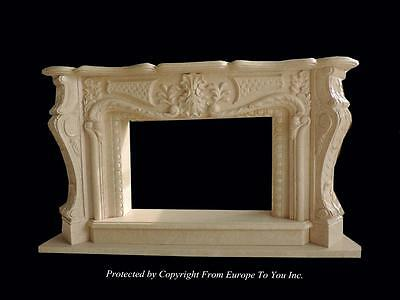 Beautiful Hand Carved Marble Estate French Style Fireplace Mantel - Fpm857