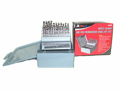 NEW M2 #1 TO #60 HARDENED  60pc HSS NUMBERED DRILL BIT SET WITH METAL INDEX BOX