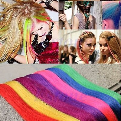 Women Multi Color Fake Hair Long Straight Synthetic Clip in on Hair Extensions