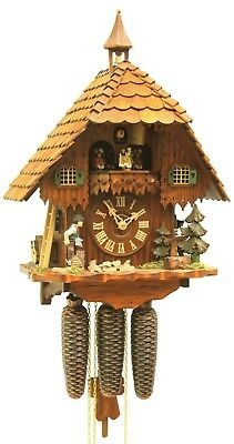 Cuckoo Clock Black Forest house with moving wood chopper RH 4567 NEW
