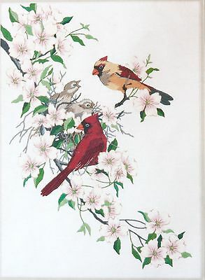 Dimensions1516 Crewel Kit Cardinals in Dogwood Birds Red Tree Flowers