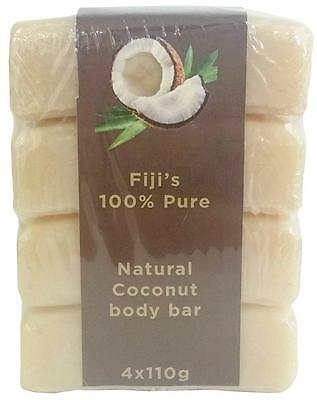 New Natural Fiji Coconut Body Soap Fragrance 4 x Bar Oil Scented Cleansing Bath