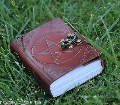 pentagram leather journal handmade blank book of shadows w lock