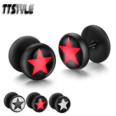 TTstyle 10mm STAR Round Black Stainless Steel Fake Ear Plug Earrings A Pair NEW