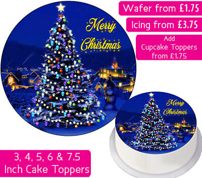 Christmas Tree Edible Wafer & Icing Cake Toppers Decoration Holidays Merry Happy