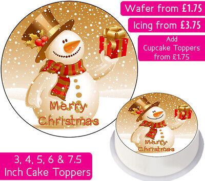 Christmas Snowman Edible Wafer & Icing Cake Toppers Decoration Holidays Merry