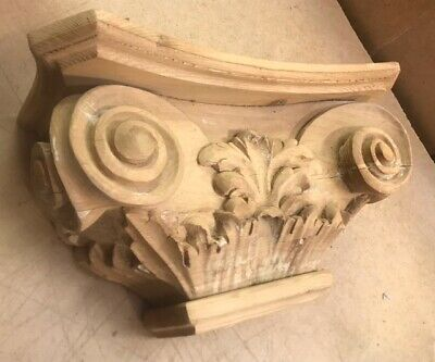 Half Column Corinthian Capital Pilaster, hand carved in solid pine #484