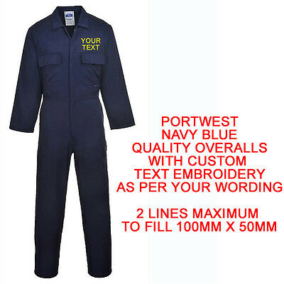 Embroidered Personalised Boilersuit Overalls Custom Portwest S999 Name Navy Blue
