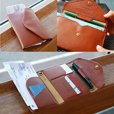 Women's/Men's Leather Card Holder Passport Wallet Organizer Clutch Trip Travel