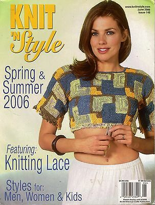 Knit n Style June 2006 Spring Summer Lace Tops Shawl Sweaters Knitting Patterns