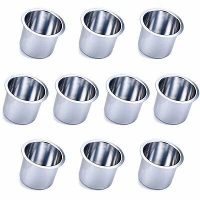 10 Jumbo Vivid Silver Aluminum Drop In Drink Cup Holders for Custom Poker Table