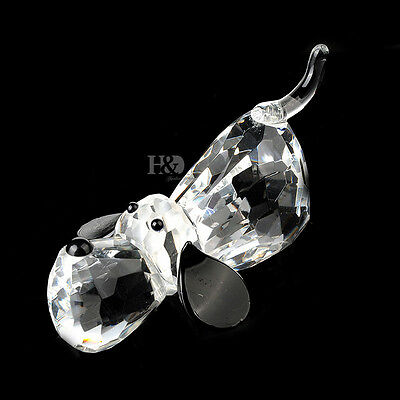 Crystal Cut Glass Animal Figurines Small Dog Paperweights Collectibles Ornament