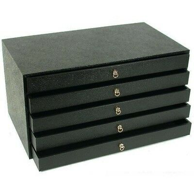 5 Drawer Black Mixed Inserts Jewelry Medals Lure Display Organizer Cabinet Case