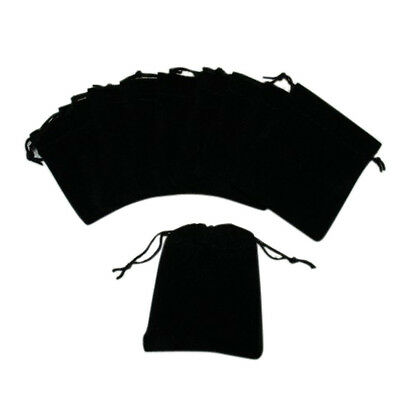 10 pcs Small Velvet Black Pouches With Drawstrings HE