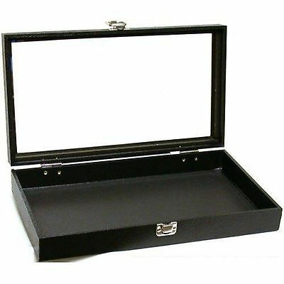 Jewelry Showcase Display Case Glass Top Portable Travel Box Black Best Dealer