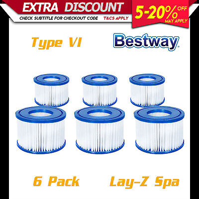 6 Pack Bestway Lay-Z Spa Filter Pump Replacement Cartridge Type VI 58323