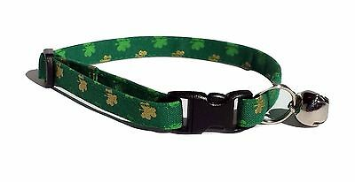 Shamrock Kitten or Cat Collar Adjustable St Patricks Day Fabric green gold irish