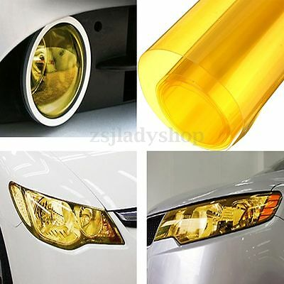 "12 x24"" Yellow Headlight Fog Light Taillight Tint Vinyl Smoke Film Sheet Sticker"