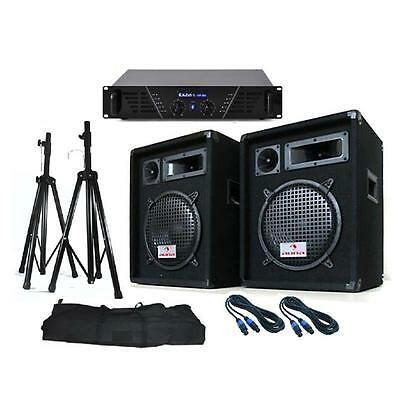 "Pro Pa System 10"" Disco Speakers Dj Equipment 640W Amp Stands Cables *free P&p"