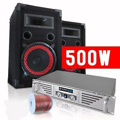 STARTER PA SET AMPLIFIER 2x 500W MAX SPEAKERS *FREE P&P SPECIAL OFFER