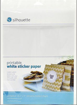 SILHOUETTE PRINTABLE WHITE STICKER PAPER 8 SHEETS 8.5 X 11in