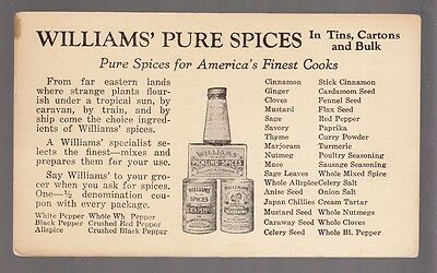 [57737] Vintage Advertising Card Williams' Pure Spices & Pudding Recipe