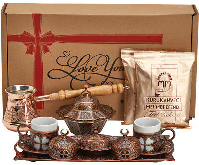 16 Pc Turkish Greek Arabic Coffee Gift Set w Copper Pot Cup Saucer Tray Bowl Cof