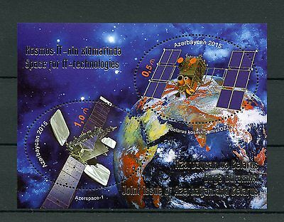 Azerbaijan 2015 MNH Space for IT Technologies Joint Issue Belarus 2v M/S
