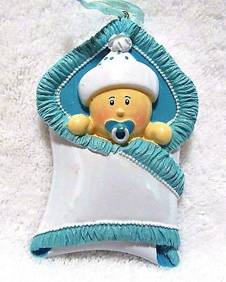 Baby Ornament Nursery Or Shower Party Decoration Boy In Blanket Hanging Resin