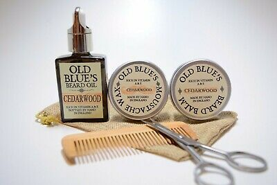 Old Blue's Beard Grooming Kit, Cedarwood Moustache Wax, Beard Oil & Balm