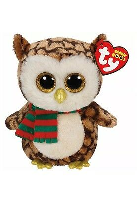 """Ty Beanie Boo Wise - owl with scarf 6"""" 36172"""