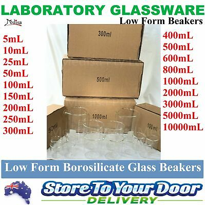 BOROSILICATE Glass Graduated Laboratory Beakers Low Form, 11 sizes, 1/5/10 pcs