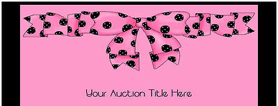 Pretty Pink Polka Dot Bow eBay Auction Template Listing Template