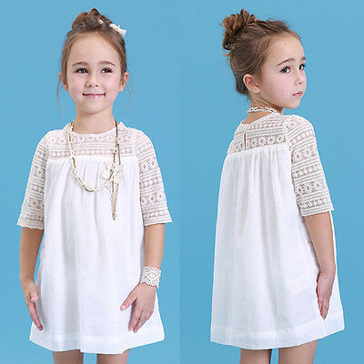 Chic Children Baby Girls White Lace Floral Party Dress Solid Gown Formal Dresses