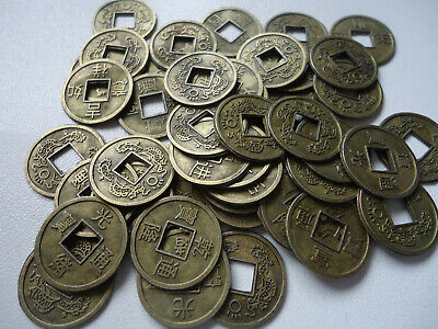 50 Chinese  Feng Shui Fortune Auspicious Coins/I Ching/ Bronze 16mm+ Pouch(CO34)