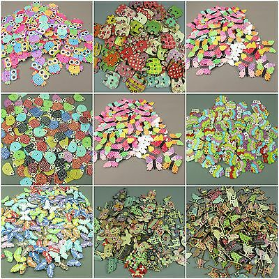 Wooden Buttons Scrapbooking Sewing Craft Huge Selection Of Shapes!