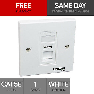 RJ45 Face Plate Wall Socket Cat5e Ethernet Single Wall Outlet 1 Port with Jack